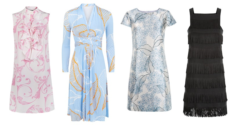 From left to right: Acanthus-print silk 'Leonie' dress, 'Allegra' wrap dress, Hydrangea-print silk 'Jenna' dress and black fringe 'Effie' dress all from Madderson London.