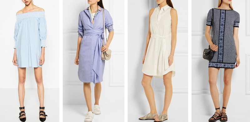 From left to right: Zara off the shoulder cotton poplin dress, J Crew & Thomas 'Sybil' cotton dress, Equipment 'Claudia' belted cotton shirt dress and Michael Michael Kors 'Edo' printed stretch- jersey mini dress.