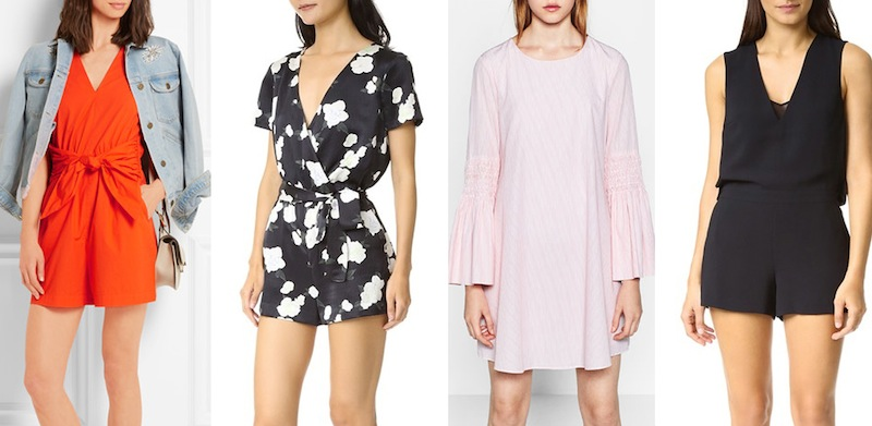 From left to right: J Crew 'Tessa' romper, Club Monaco 'Zemphira' floral romper, Zara pinstripe jumpsuit dress and Club Monaco's 'Karis' plain romper.