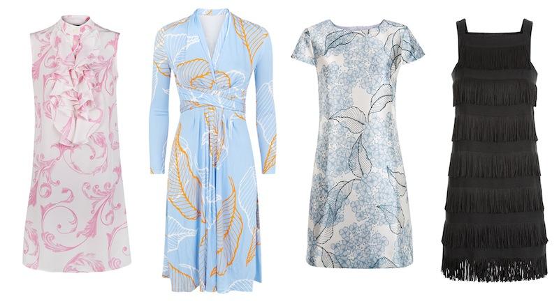 From left to right: Acanthus-print silk 'Leonie' dress, 'Allegra' wrap dress, Hydrangea-print silk 'Jenna' dress and black fringe 'Effie' dress all from Madderson London.