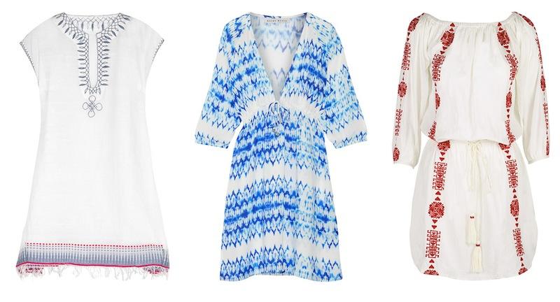 From left to right: Lemlem 'Wubit' embroidered cotton-blend gauze kaftan, Heidi Klein 'Ventura' printed voile kaftan and Pampelone 'Bardot' dress.