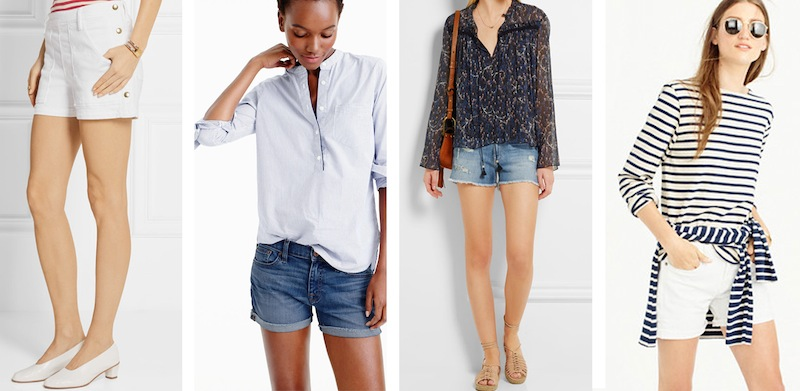 From left to right: J Crew denim short in white, J Crew denim short in Merrill wash, FRAME Le Cutoff distressed stretch-denim short and FRAME 'Antibes' stretch-denim short.