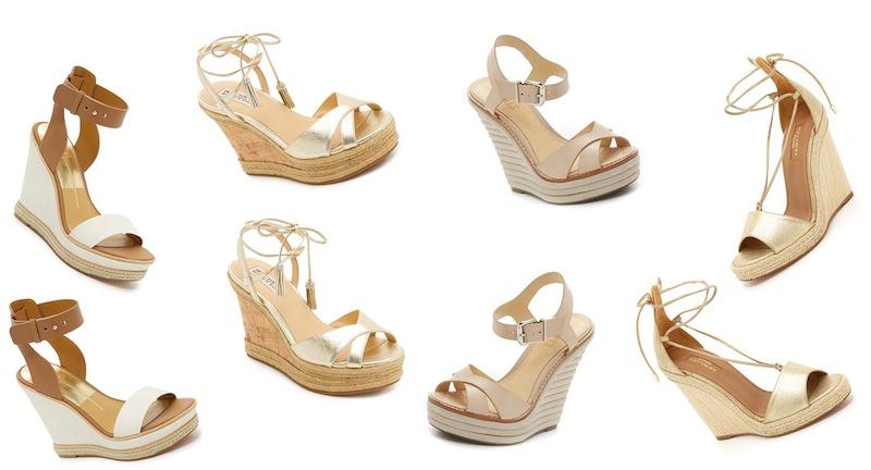 From left to right: Dolce Vita 'Heath' wedge sandals, Badgley Mischka 'Cece' sandals, Schutz 'Francine' wedge sandals and Aquazzara 'Alexa' wedge espadrilles.